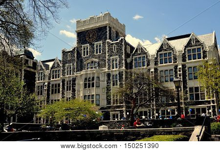 New York City - May 2 2015: Neo-gothic Harris Hall at City College of New York on Convent Avenue in Hamilton Heights