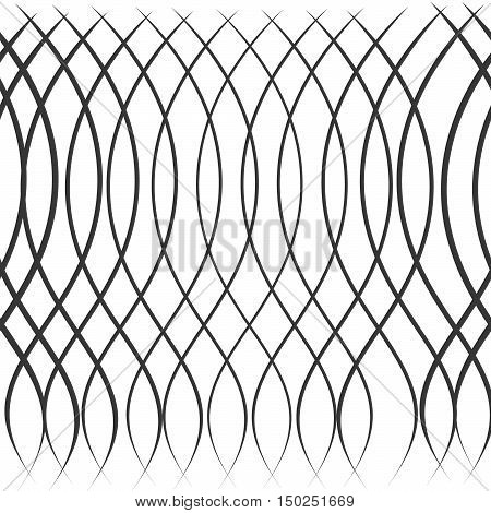 Seamless Ripple Pattern. Repeating Vector Texture. Wavy Graphic Background. Simple Linear Waves
