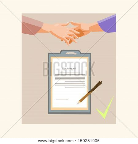 Handshake Businessman Contract Sign Up Paper Document, Business Man Hands Shake Pen Signature Flat Vector Illustration