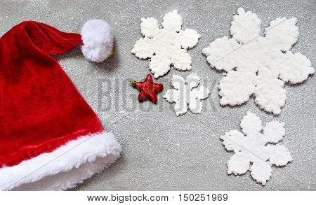Christmas grey background with Santa hat.Happy new year santa hat .