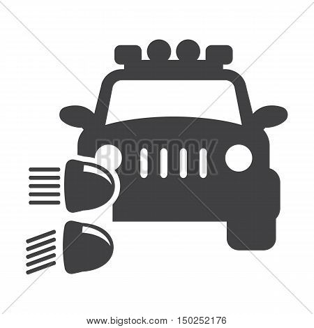 car headlight black simple icon on white background for web design