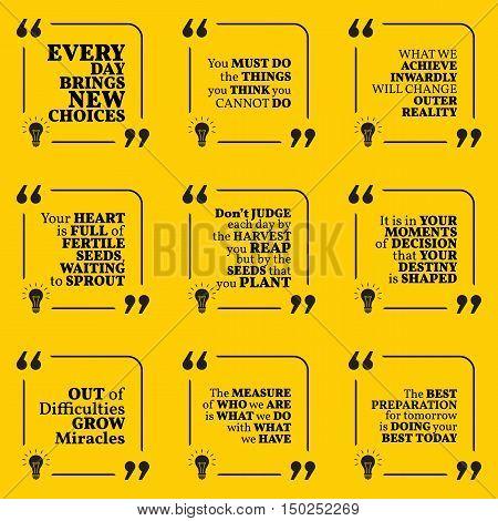 Set Of Motivational Quotes About Action, Goals, Achievement, Success, Destiny, Reality, Choice And D