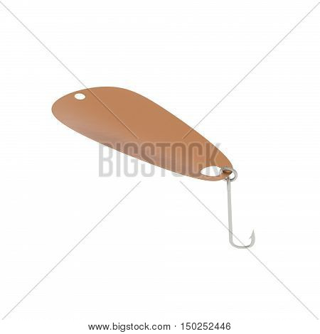 A 3D rendering of a copper spoon fishing lure.