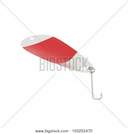A 3D rendering of a spoon fishing lure with a red stripe.