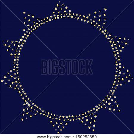 Sun on the night sky decoration vector card. Sparkling sun illustration template. Stars decorative frame.