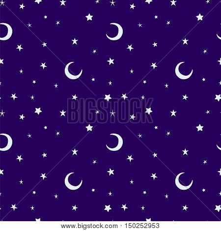 Golden yellow moon and stars sky print seamless pattern. Moons and stars illustration on blue sky background.