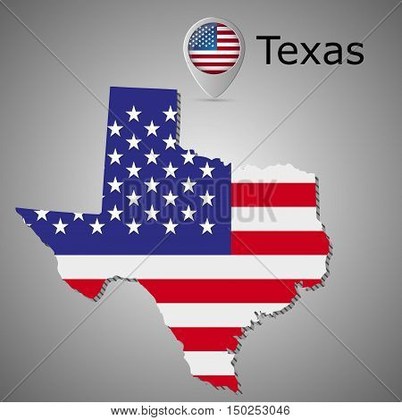 Map of the State of Texas and American flag illustration.