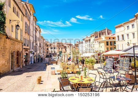 aix en provence france june 20 2016 cardeurs square with cafes and restaurants in the old. Black Bedroom Furniture Sets. Home Design Ideas