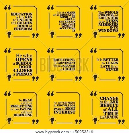 Set Of Motivational Quotes About Wisdom, Intelligence, Knowledge, Learning, Education And Personal D