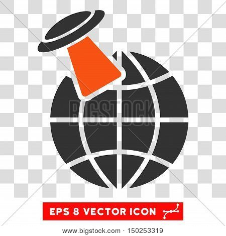 Vector Alien Visit EPS vector pictogram. Illustration style is flat iconic bicolor orange and gray symbol on a transparent background.