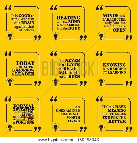 Set Of Motivational Quotes About Reading, Wisdom, Intelligence, Learning, Education, Leadership And