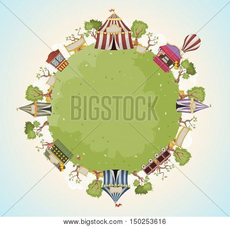 Planet earth with retro cartoon circus. Green world with vintage carnival background.