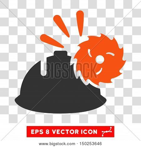 Vector Circular Blade Head Protection EPS vector pictogram. Illustration style is flat iconic bicolor orange and gray symbol on a transparent background.