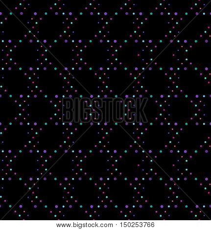 Abstract geometric polka dot seamless vector pattern. Purple colors dots texture on black background.