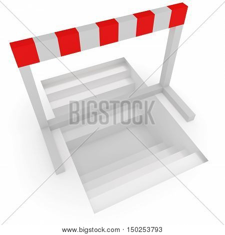 Creative Solution: Stairways Under A Hurdle 3d illustration