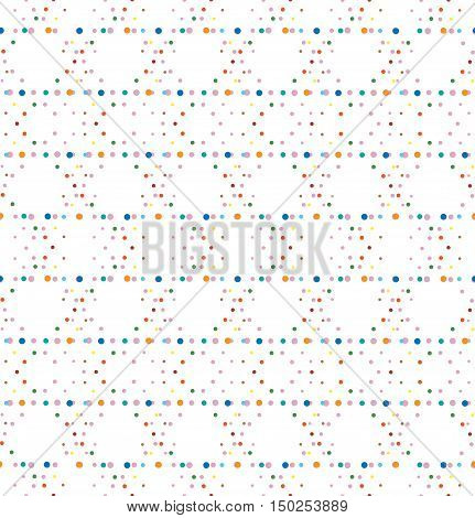 Abstract geometric polka dot seamless vector pattern. Colorful optic illusion dots texture on white background.