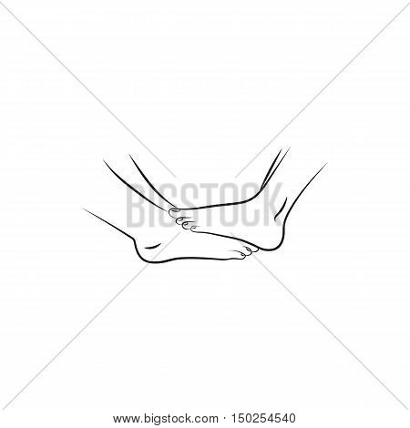Barefoot love couples feet. Isolated vector illustration on white background. Elements for company print products page and web decor.