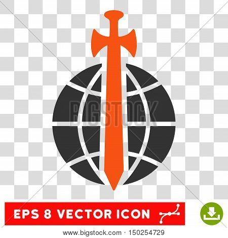 Vector Global Guard EPS vector pictograph. Illustration style is flat iconic bicolor orange and gray symbol on a transparent background.