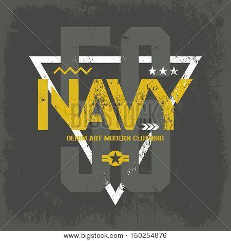 Modern american navy grunge effect tee print vector design isolated on dark background.  Premium quality superior military shabby number logo concept. Threadbare warlike label on khaki t-shirt.