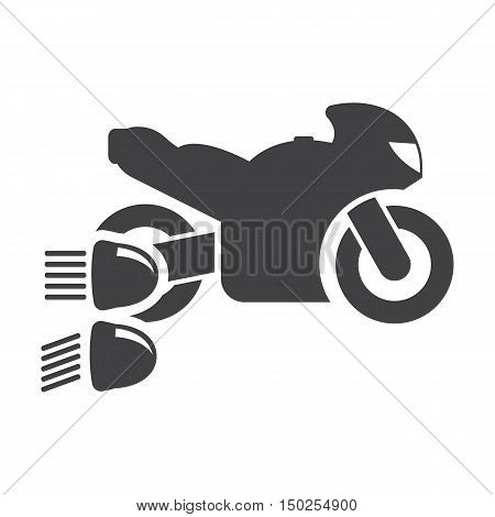 Motorcycle headlights black simple icons set for web design