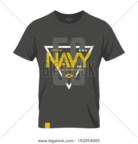 Modern american navy grunge effect tee print vector design illustration.  Premium quality superior military shabby number logo concept. Threadbare warlike khaki t-shirt mock up.