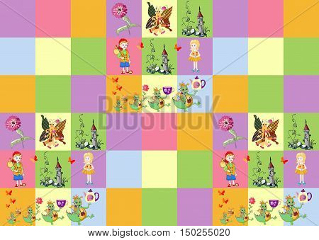 Plaid fabric for children with cheerful dragons. Vector illustration. Bright endless patchwork pattern.