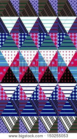Ornamental seamless patchwork pattern. Ethnic background. Vector illustration of quilt.