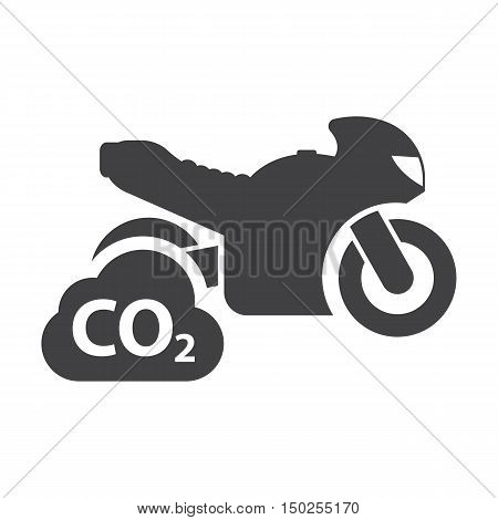 Motorcycle co2 black simple icons set for web design