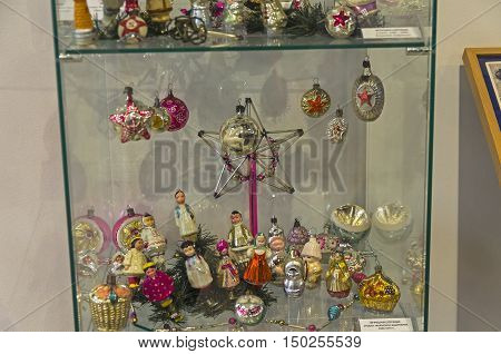 KLIN RUSSIA - JANUARY 16 2016: Old Christmas toys with Soviet symbols. 40th-70th years of the the twentieth century. Museum of Christmas toys.