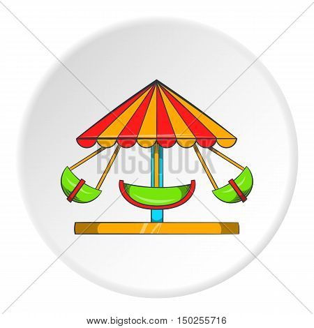Childrens carousel icon in cartoon style isolated on white circle background. Attraction symbol vector illustration