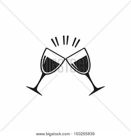 simple black Two clink glasses icon isolated on white background. Elements for company print products page and web decor. Vector illustration.