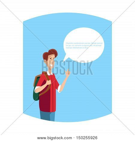 Young Boy Student Teenager With Chat Bubble Communication Concept Flat Vector Illustration
