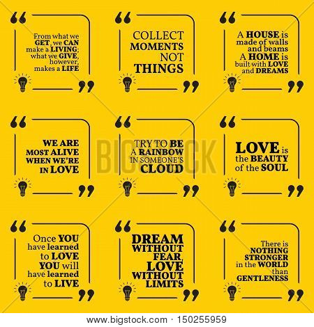 Set Of Motivational Quotes About Home, Moments, Love, Life, Dreams And Gentleness. Simple Note Desig