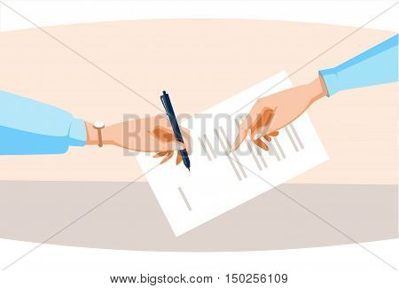 Contract Sign Up Paper Document Business People Agreement Pen Signature Flat Vector Illustration