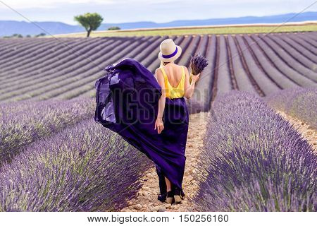 Young pretty woman in the long waving skirt and hat standing with lavender bouquet on the lavender field in Provence in France.