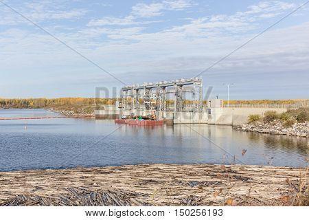 spillway structure under construction in saskatchewan canada