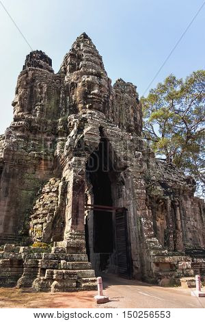 South Gate of Angkor Thom from outside the city. Angkor Wat. Siem Reap Cambodia. UNESCO World Heritage Site.