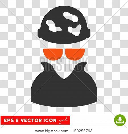 Vector Spotted Spy EPS vector icon. Illustration style is flat iconic bicolor orange and gray symbol on a transparent background.