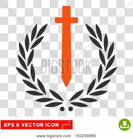 Vector Sword Honor Embleme EPS vector pictograph. Illustration style is flat iconic bicolor orange and gray symbol on a transparent background.