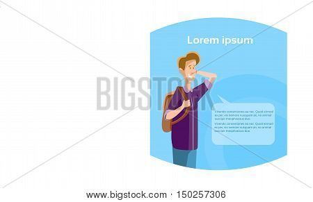Young Boy Student Ponder Thinking Teenager With Chat Bubble Flat Vector Illustration