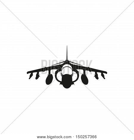simple black fighter jet icon isolated on white background. Elements for company print products page and web decor. Vector illustration.