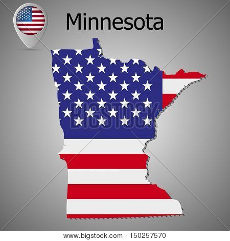 Minnesota State map with US flag inside and Map pointer with American flag