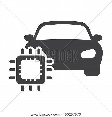 car cpu black simple icons set for web design