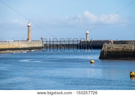 The harbour entrance at Whitby Yorkshire UK