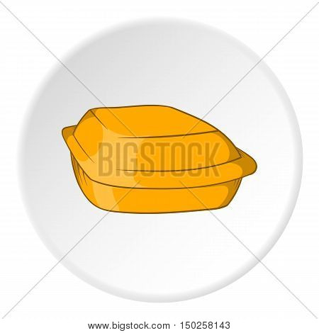 Food container icon in cartoon style isolated on white circle background. Food storage symbol vector illustration