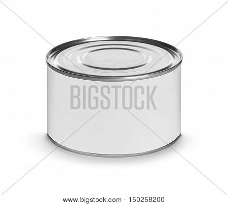 Closed fish or food tin can with blank white label isolated on white