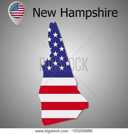 Vector map with US flag inside of New Hampshire . Map pointer with American flag