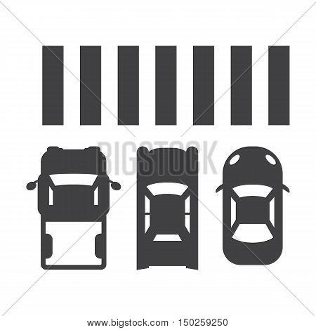 Crosswalk black simple icons set for web design