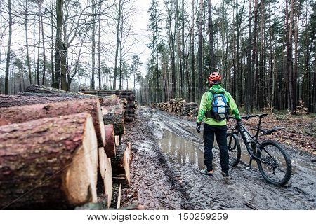 Mountain biker riding on bike in autumn inspirational woods landscape. Man cycling MTB on wet forest trail track on wet winter road. Sport fitness motivation and inspiration.