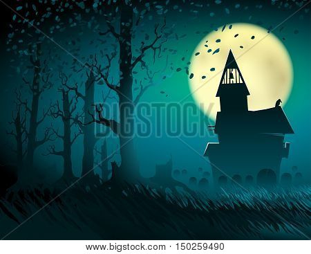 Halloween scene with the moon and the old castle; Abandoned hut in the old forest with a cemetery and gravestones; Gloomy terrible otherworldly place; Vector background Eps10